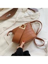 Vintage Solid PU Bucket Shoulder Bag For Ladies