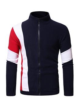 Color Block Stand Collar Zipper Up Mens Outwear