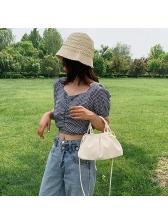 Korean Style Solid Temperament Shoulder Bag With Handle