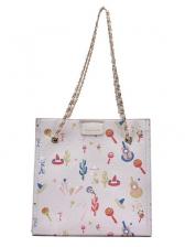 Fashion Cartoon Printed Chain Tote Shoulder Bag