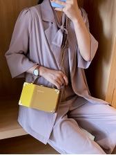 Contrast Color All-Match Chain Shoulder Box Bag