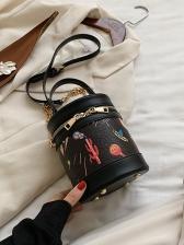 Cute Printed Shoulder Round Bucket Bag With Handle