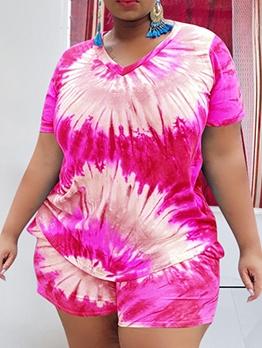 Plus Size Bright Color Tie Dye Two Piece Sets