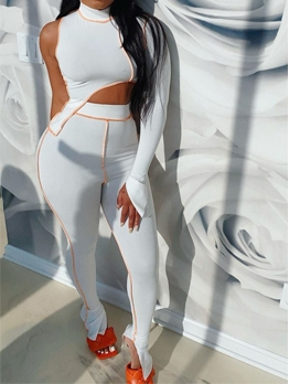 Mock Neck One Shoulder High Waist Tracksuit Set