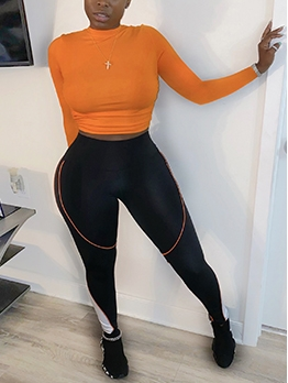 Crew Neck Backless T Shirt Two Piece Pants Set
