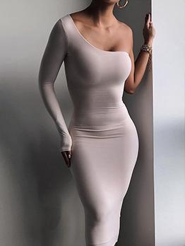 One Shoulder Long Sleeve Bodycon Dress