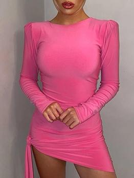 Puff Sleeve Irregular Hem Bodycon Dress