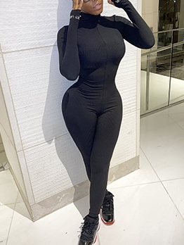 Letter High Neck Long Sleeve Bodycon Jumpsuit