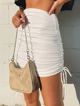 Pure Color Side Drawstring Bodycon Short Skirt