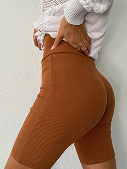 Easy Matching High Waist Solid Color Short Leggings