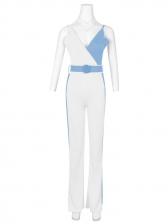 Chic Contrast Color Shoulder Straps Fitted Summer Jumpsuits