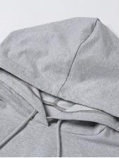 Plain Solid Color Hooded Collar Autumn Trouser Set