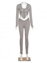 Solid Hooded Sport Women Trouser Set