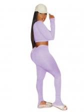V Neck Crop Top With Split Hem Pants