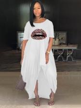 Lips Printed Irregular Hem Plus Size Maxi Dresses