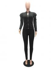 Solid Color Puff Sleeve Zipper Womens Tracksuits
