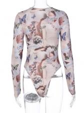 Autumn Butterfly Print Long Sleeve Crew Neck Bodysuits