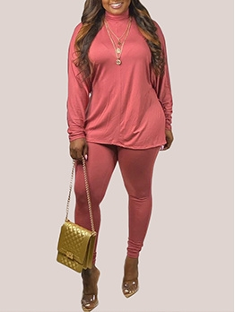 Autumn High Neck Plus Size 2 Piece Pants Set