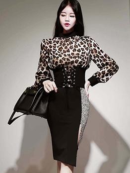 Elegant Leopard Printed Two Piece Skirt Set
