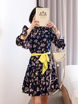 Elegant Printed Womens Long Sleeve Dress