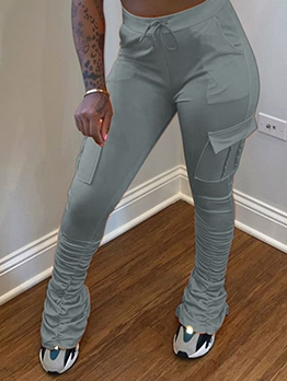 Casual Sport Pleated Solid Women Long Pants