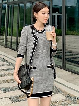 Simple Cardigan Contrast Color 2 Piece Dress