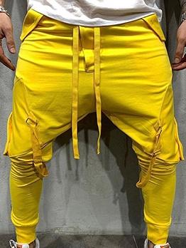 Hip-Hop Solid Color Pockets Casual Pants