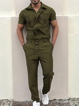 Pure Color Short Sleeve Cargo Jumpsuit