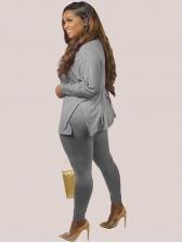 Autumn High Neck Plus Size 2 Piece Pants Set