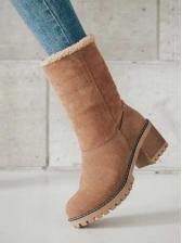 Stylish Inner Flush Chunky Heel Winter Boots