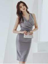 Seductive Ruched v Neck Sleeveless Knee Length Dress