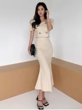 Graceful Solid Short Sleeve 2 Piece Skirt Set