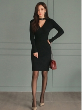 V Neck Solid Long Sleeve Dress Casual