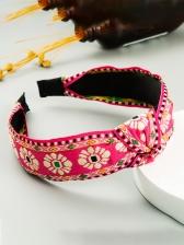 Temperament Flower Embroidery Knot Hair Hoop Women