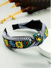 Euro Style Embroidery Wide Edge Cloth Hair Hoop