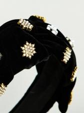 Star Golden Velvet Rhinestone Bow Hair Band