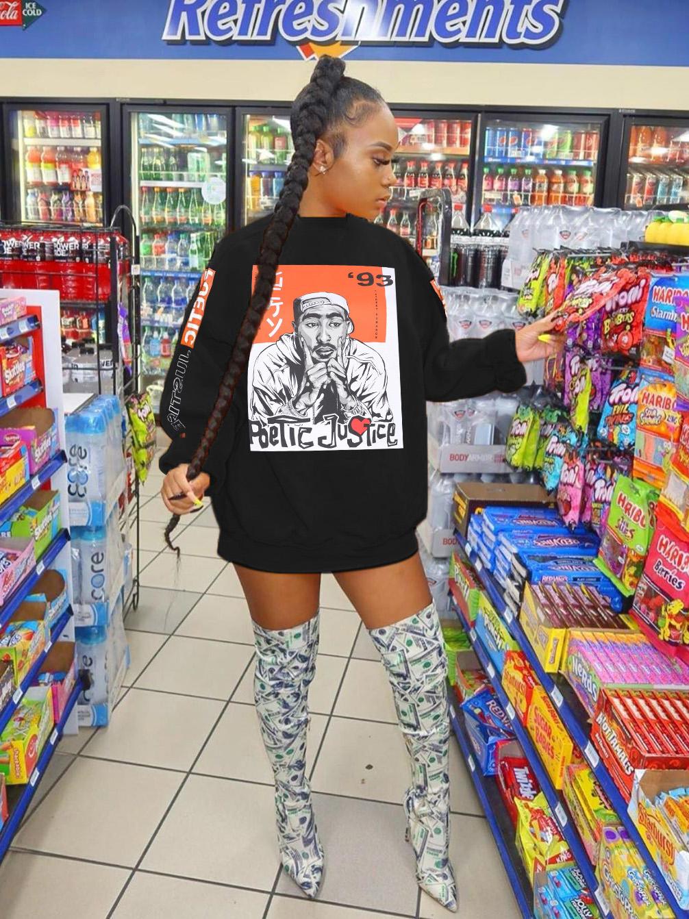 Loose Figure Printed Long Women Sweatshirt