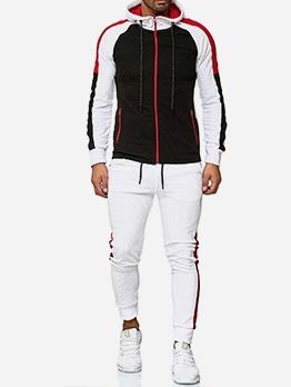 Contrast Color Hooded Collar Mens Activewear
