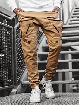 Simple Design Solid Cargo Pants For Men