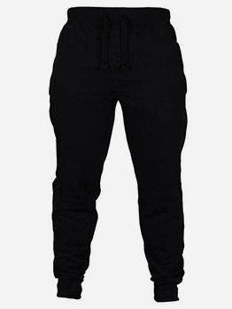 Solid Color Drawstring Mens Jogger Pants