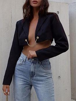 Trendy Plain Black Cropped Blazer For Women