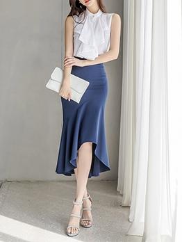 Elegant Solid Mermaid Two Piece Skirt Set