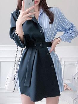 Stylish Striped Patchwork Ladies Blazer Dress