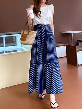 Elegant Crewneck Striped Two Piece Skirt Set