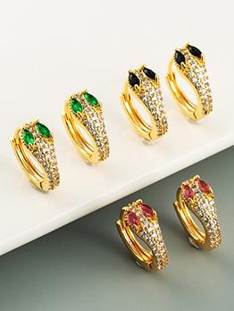 Character Cu Snake Zircon Earrings For Women