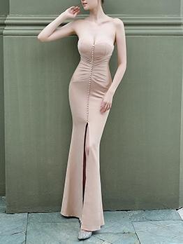Solid Strapless Split Fishtail Prom Maxi Dress Weddings