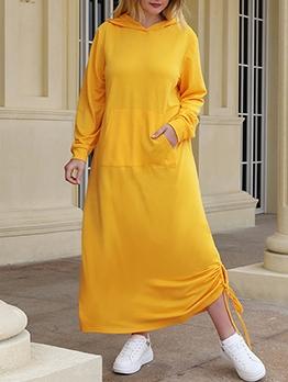 Solid Loose Pockets Hooded Collar Maxi Dress