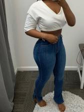 Trendy Solid Side Slit Jeans For Women