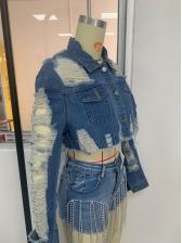 Chic Design Ripped Cropped Denim Jacket