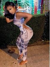 Trendy Printing Sleeveless Bodysuit With Skinny Pants